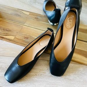 New Franco Sarto Ailee black leather ballet flats